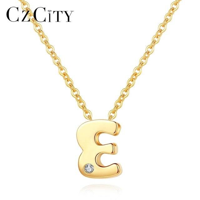 Czcity Echt 14K Gold Petite Cz Beginletter Hanger Kettingen Voor Vrouwen Unieke A Z Brief Ketting Sieraden Geschenken