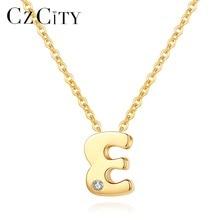 Czcity genuíno 14k ouro petite cz carta inicial pingente colares para as mulheres original A Z carta colar jóias presentes