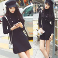 Ladies Cool Black Military Dress Winter Fall Warm Fashion Double Breasted A Line Dress Knitted Sweater Dress