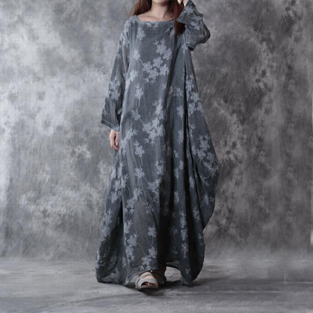 0542725f57f BUYKUD Loose Casual Maxi Dress Women Cotton Linen Print Gray Long Dress  2018 Autumn Long Sleeve Fitting Dresses Female