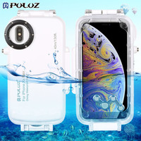 PULUZ For iPhone XS Max 40m/130ft Diving Phone Protective Case for Samsung Galaxy S9/S9 Plus Huawei P20 Underwater Housing