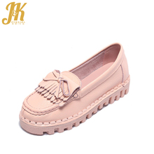 J K 2017 Cow Genuine Leather font b Women s b font Vulcanize Shoes School Casual