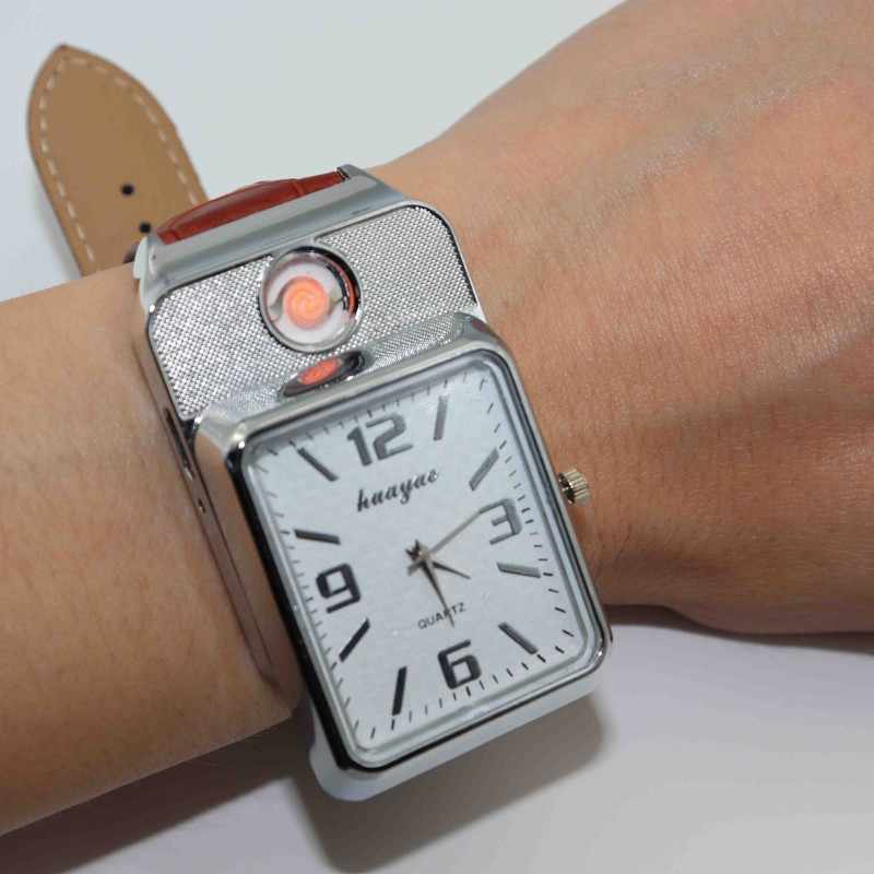 1pcs מצית שעונים לגברים ספורט קוורץ שעון אופנה USB טעינת Flameless מצית מקרית שעוני יד F777