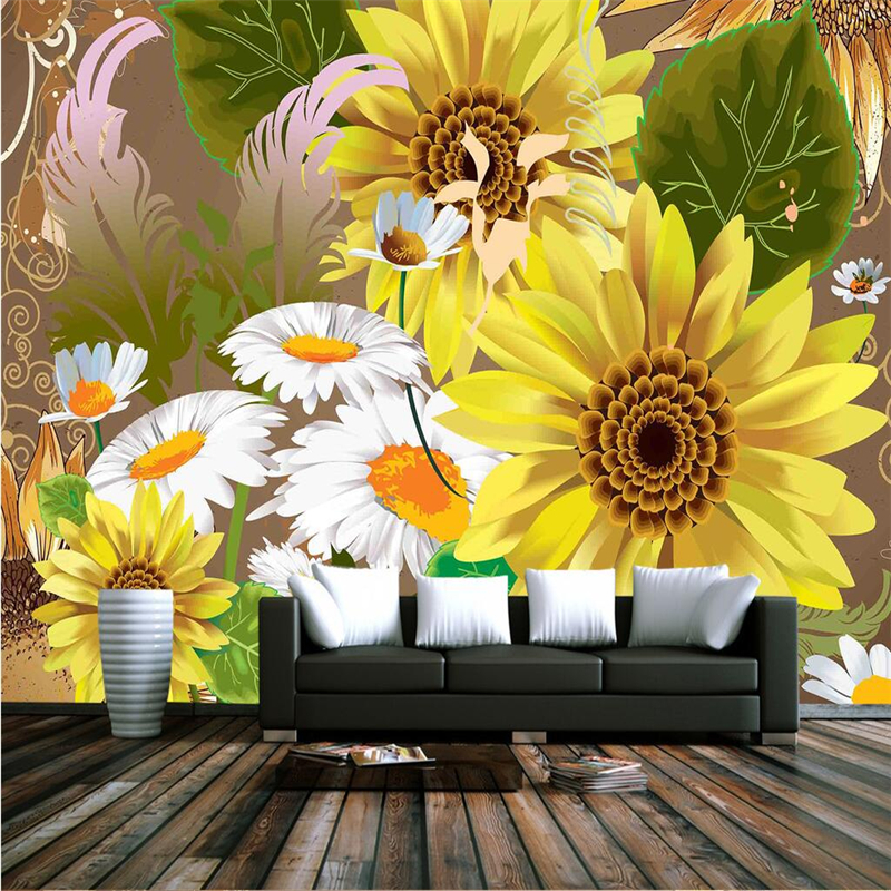 3D Stereoscopic Wallpapers Sunflower Custom Photo Wall Murals Kids Walls Papers for Children Living Room Home Decor Flowers Gold custom large 3d wallpapers cartoon dog cat animals murals kids walls papers for children room living room home decor painting