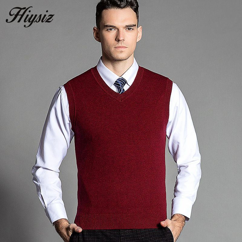 Top Quality Classic Pure Color Cashmere Vest Men Knitted Merino ...