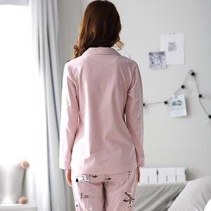 Image 5 - Женская Хлопковая пижама с длинным рукавом BZEL, розовая пижама с рисунком лисы, домашняя одежда для отдыха, M 3XL