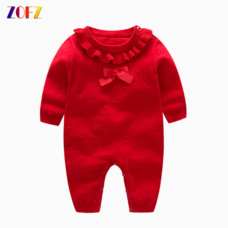 ZOFZ Baby Girl Sweater Solid Knitted Romper Sweet Cotton Long Sleeve jumpsuit O-Neck Pullover Children's Warm Bow-tie Romper stylish short sleeve scoop neck self tie romper for women