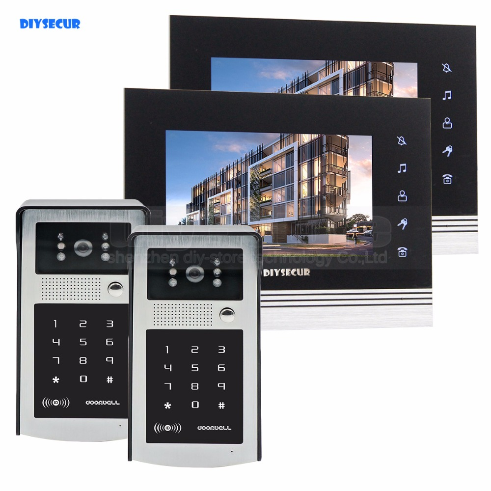 DIYSECUR 7 inch Touch Button Video Door Phone Intercom Doorbell IR Night Vision HD 300000 Pixels RFID Keypad Camera 2V2 19 inch infrared multi touch screen overlay kit 2 points 19 ir touch frame