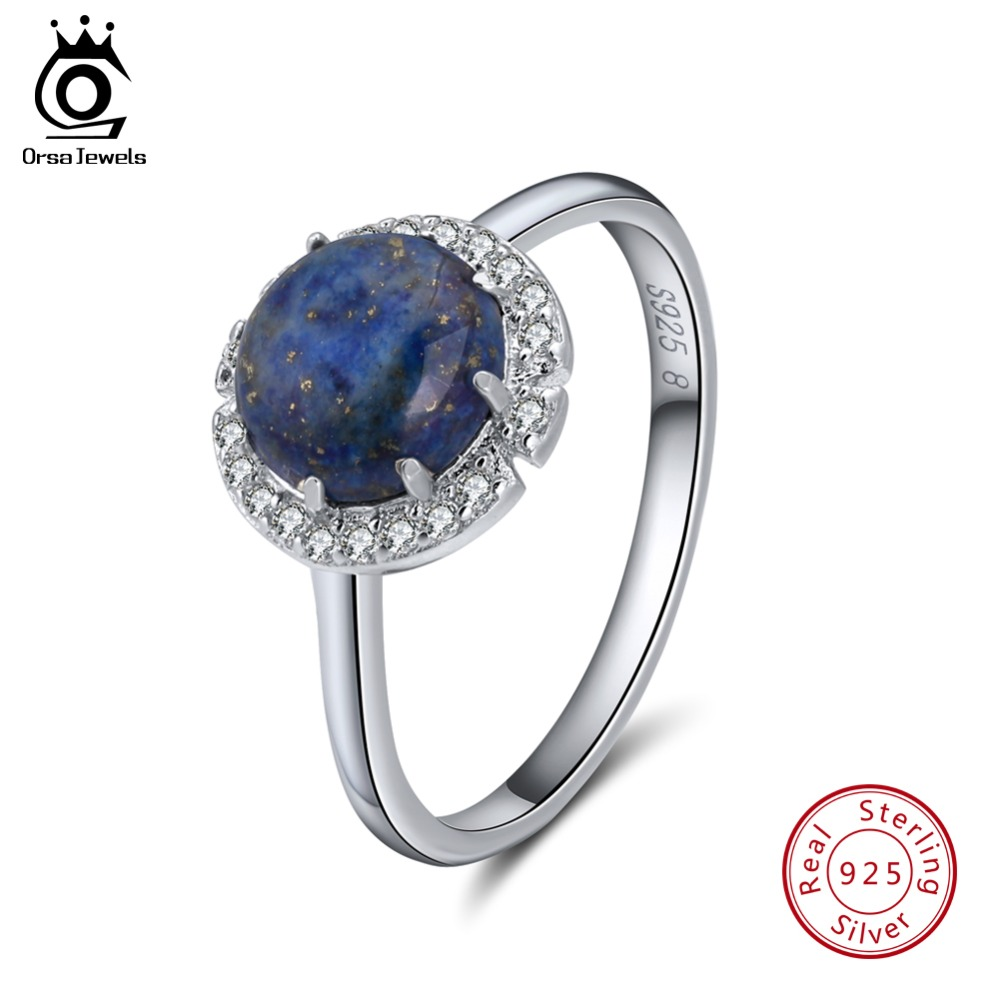 ORSA JEWELS Authentic 925 Sterling Silver Rings For Women Lapis Lazuli Pave Setting AAA Cubic Zircon Party Ring Jewelry SR55-L