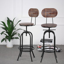 iKayaa Industrial Style Bar Stool Height Adjustable Swivel Kitchen Dining Chair Pinewood Top+ Metal With Backrest Bar Stools(China)