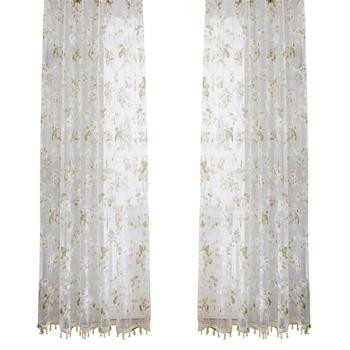 Orchid Flower Sheer Curtains Window Screen Window Gauze Door Scarf Drapes Valance For Room Decor (Pink) window valance