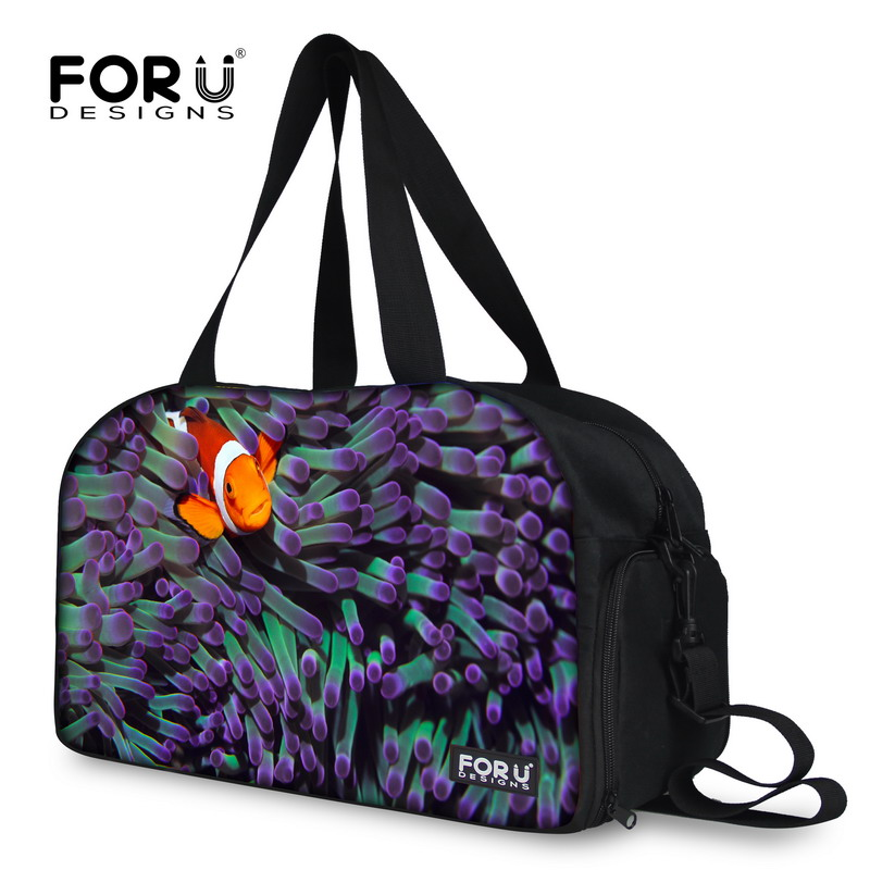 FORUDESIGNS New Popular Gold Small Fish Pattern Travel Bags,Adjustable Shoulder Luggage Bag For Female Weekend Bag Best Selling