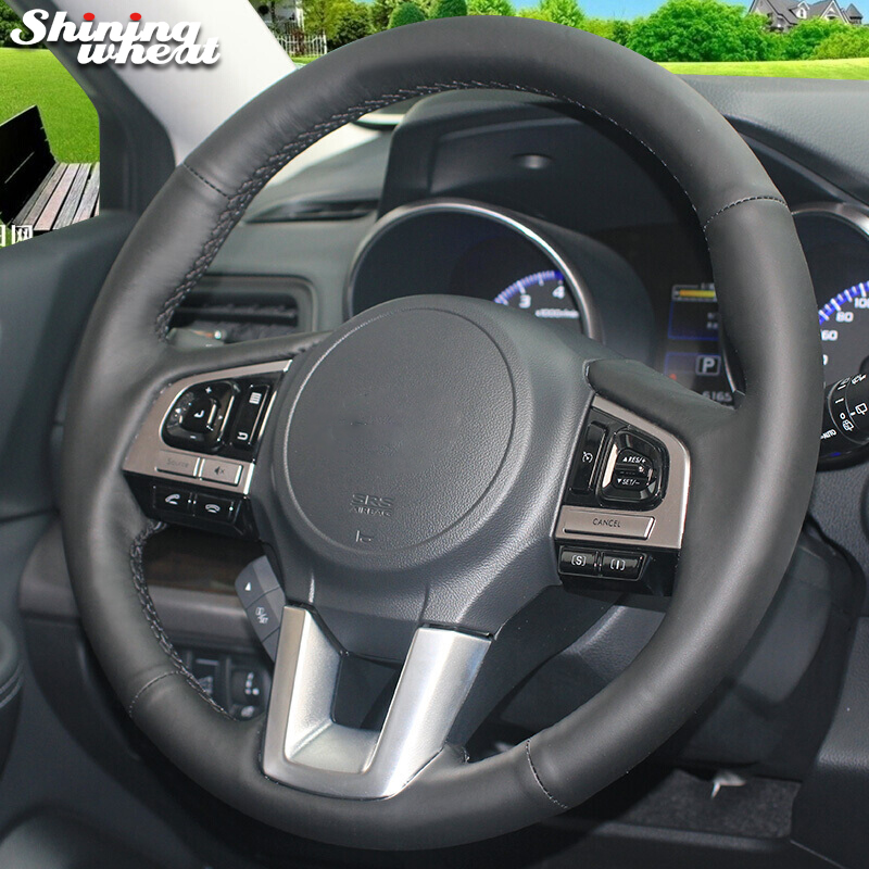 Shining wheat Black Genuine Leather Car Steering Wheel Cover for Subaru Legacy 2016 Outback 2015 2016 XV 2016 Forester 2016 top cowhide sew on all black genuine leather steering wheel cover for subaru forester at