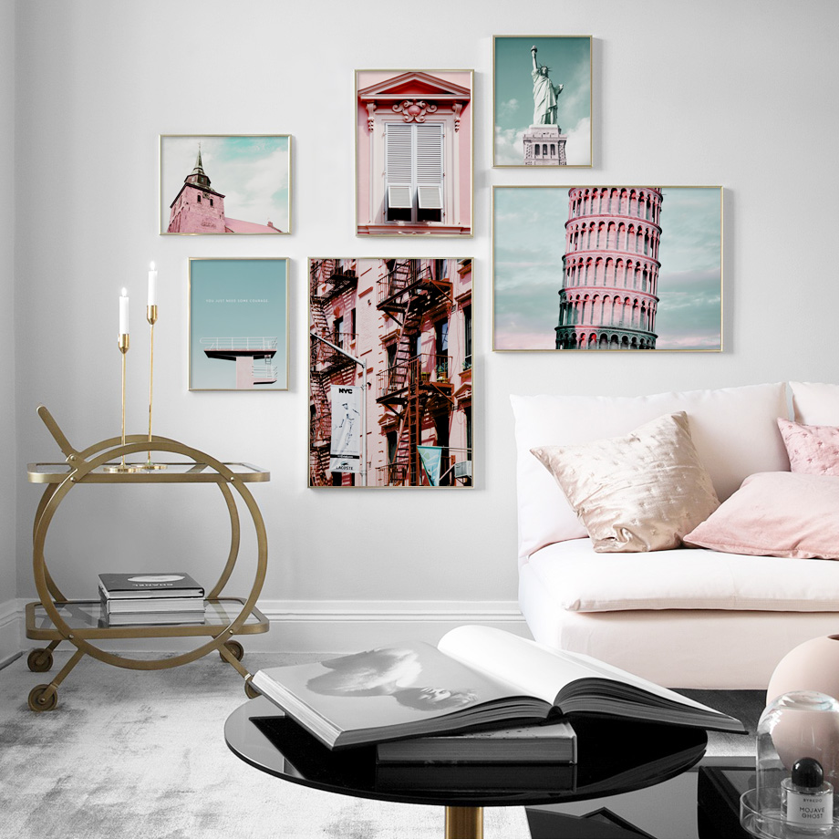 Church New York Rome Statue Of Liberty Wall Art Canvas Painting Nordic Posters And Prints Wall Pictures For Living Room Decor
