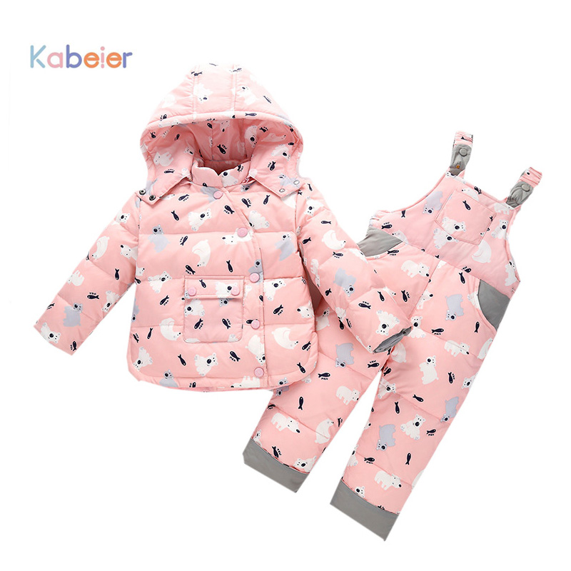 Kid Baby Girl Winter Down Clothing Sets Children Girl Boys Warm Winter  Hooded Newborn Infant  Snow Outwear Coat +Overalls Pants winter baby girl coat thick warm cotton real fur newborn baby boys girls jacket infant toddler hooded outerwear clothing 1 4y