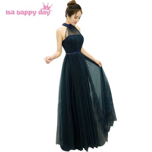 cheap long formal halter tulle puffy bridesmaid dresses for ...