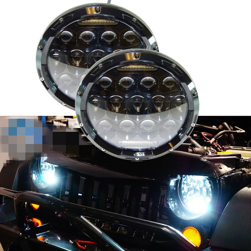 ФОТО 2 X 7inch 75W daymaker projector headlamp LED Headlight H14 H13 DRL HIGH LOW BEAM FOR Je~p JK Wrangler