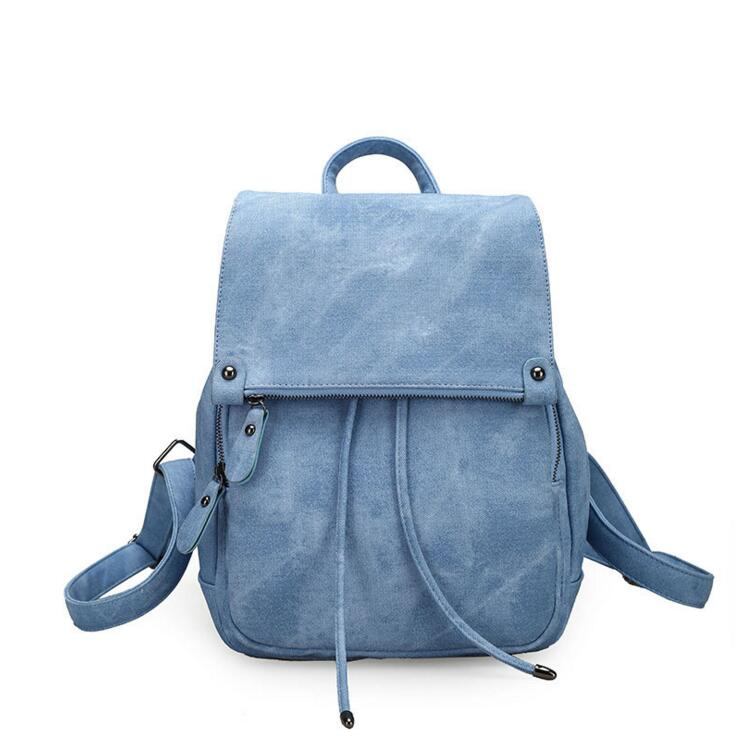 Ms backpack Leisure fashion canvas bag Soft female student backpack The large capacity female bag