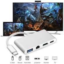 USB C Hub to HDMI 4K for Macbook 4-in-1 USB-C Hub Adapter for Macbook Pro Chromebook Pixel Smartphone New Hot Design dzlst 4 port usb type c 3 1 multiport adapter usb c to usb 3 0 usb c hub metal high speed 4 in 1 for macbook google chromebook