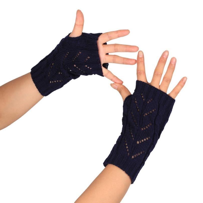 Beautiful cheap Fashion Knitted Arm Fingerless Winter Gloves Unisex Soft Warm Mitten luvas de invernodrop shopping