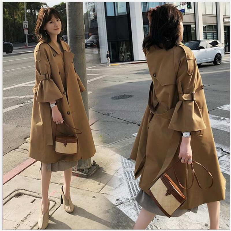 Women's Double-Breasted   Trench   Coat with Belt Classical Lapel Collar Loose Long women Windbreaker British style Chic OutwearR127