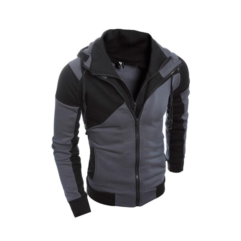 HD-DST 2018 New Mens Fashion Hoodies Sweatshirts Hot Sale Casual Slim Fit Spell Color Double Zipper Design Hooed Coat