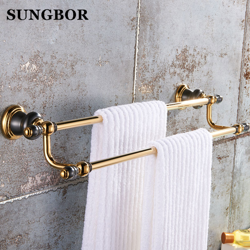 Bathroom Gold double Towel Bar,Towel Holder, Towel rack Solid Brass & copper Made,golden Finish, Bathroom towel shelf SJ-8111K free shipping brass & stone golden towel rack gold towel bar towel holder cy008s