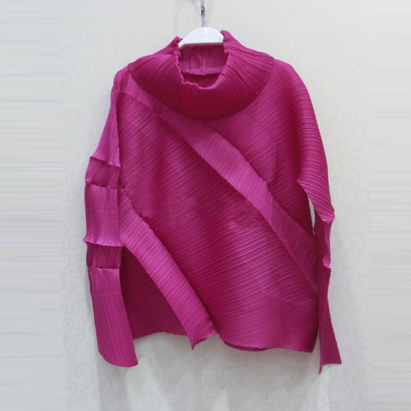 Changpleat Turtleneck Solid women's T shirts Miyake Pleated Unique oblique T shirt Loose Long Sleeve female T shirt Plus Size