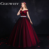 CEEWHY Burgundy Boat Neck Crystal Evening Dress Ball Gown Dress Long Party Prom Dresses Custom Size Abendkleider Real Photos