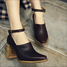 2016 Spring fashion thick heels high heels genuine leather women shoes female pointed toe hasp deep mouth women pumps цены онлайн