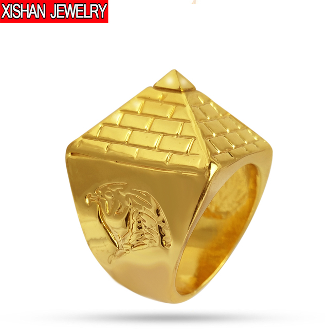 2017 Time-limited New Anillos Egyptian Pyramid Metal Ring Golden Hip Hop Men's J