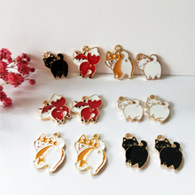 10pcs Cute Cat Dog Fox Animals Enamel Cartoon Charms Fashion Jewelry Earring DIY Making Gold Color Alloy Floating YZ026