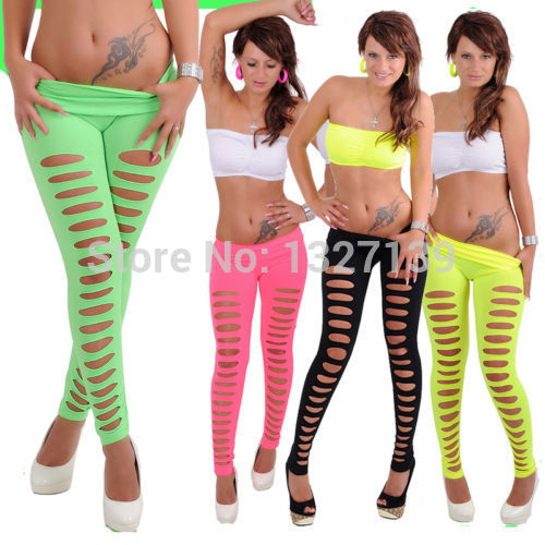 Women Disco Sexy Candy Color Skiny Slim Hole Stretch Pants Leggings White