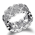 New Arrivals Female Deluxe Flower Shape Fashion rings Clear Color Cubic Zirconia Free Postage Cadmium Free