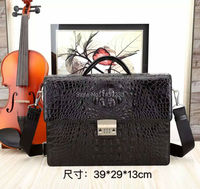 100 Genuine Real Crocodile Skin Leather Men Business Bag Code Lock Men Briefcase Laptop Bag Top
