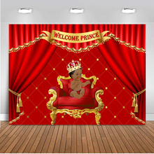 Welcome to Baby Shower Party Photography Backdrops for Theme Little Prince Gender Reveal Photo Background Red Curtain