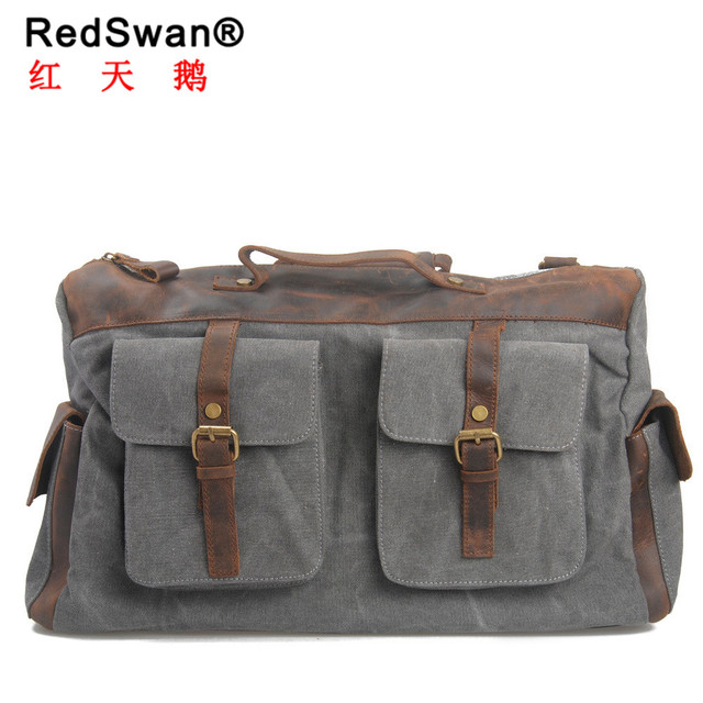 Redswan big capacity solid washed canvas bag crazy horse leather traveling  handbag duffle man bag 71552f32f7e0c