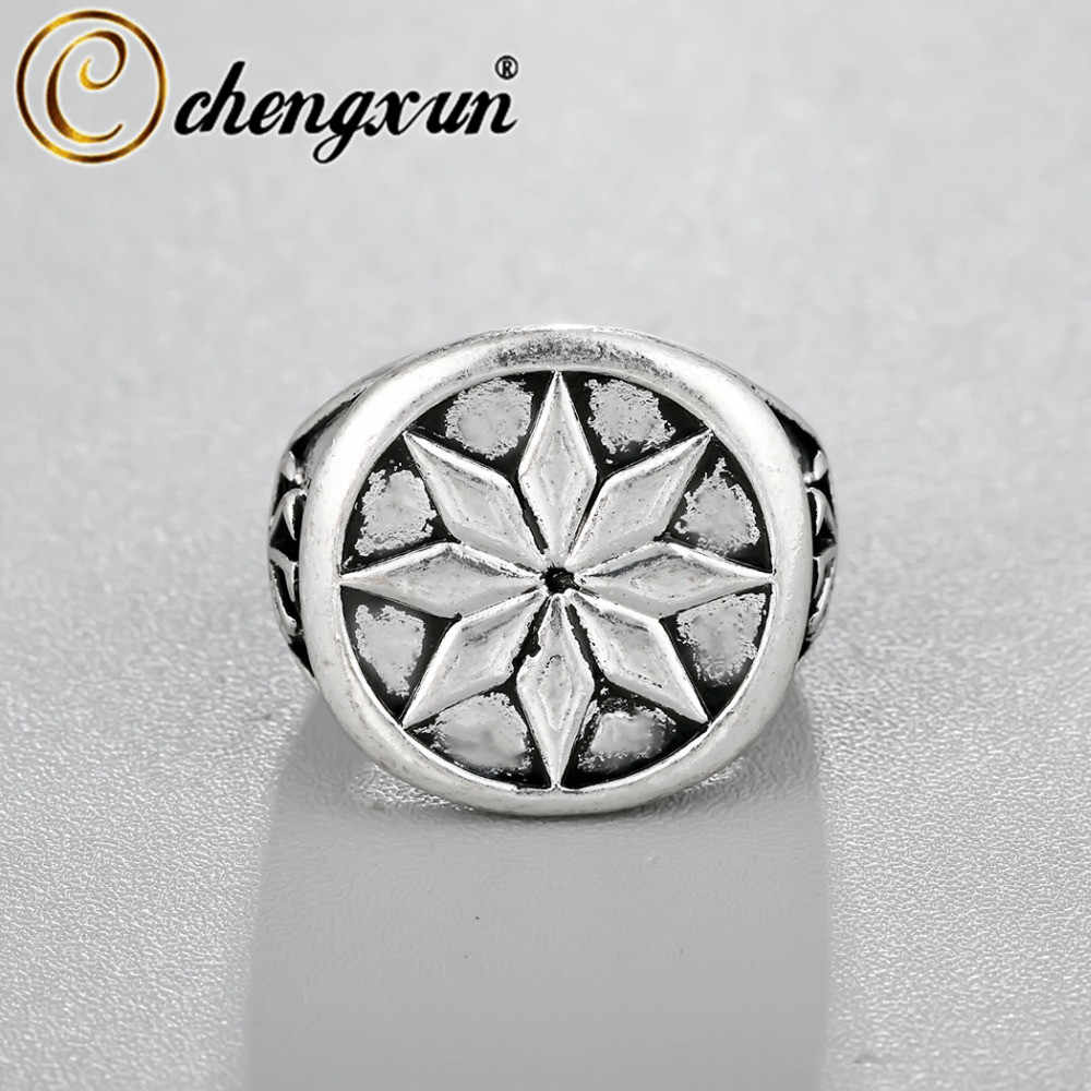 CHENGXUN Vintage Russia Signet Ring Viking Scandinavian Jewelry Engraved Party Men's Comfort Fit Handmade Wedding Ring