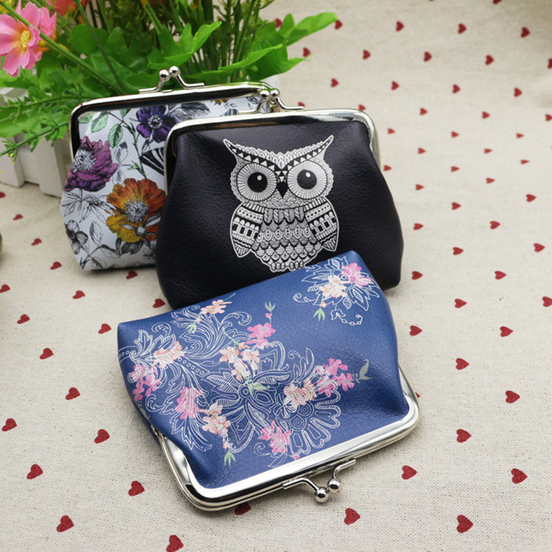New Creative Fashion Canvas Printing Coin Wallet Vintage Ethnic Women Coin Holder PU Leather Practical Kids Purse Small Bag