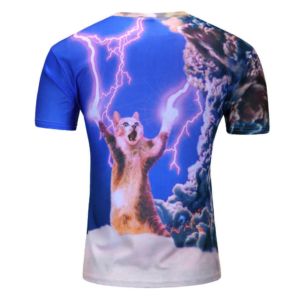 Новинка 2018 года, футболка с 3D изображением Галактики, милый котенок, кошка, поедать с пиццей, Забавные топы, футболки с короткими рукавами, летние футболки для мужчин, Прямая поставка