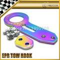 JDM UNIVERSAL Prismy Racing EPR Rear Rainbow Neo Chrome Tow Hook Anodized Glossy
