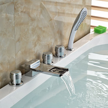 Deck Mount Widespread Roman Tub Faucet Chrome Brass Waterfall Spout Bathtub Mixer Taps