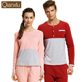 Autumn Spring Couple Pajamas Sets Long Sleeve Cotton Pijama Pyjama Women Men Sleepwear Nightwear Ladies Lounge Shirt & Bottoms