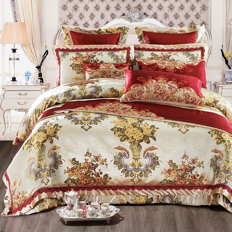 Luxury Satin Bedding Set Queen King size Cotton Bed sheets bed spread Jacquard Bed cover Pillowcase