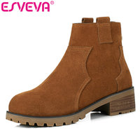 ESVEVA 2018 Brown Zipper Autumn Women Boots Cow Suede Square Med Heel Ankle Boots Scrub Casual