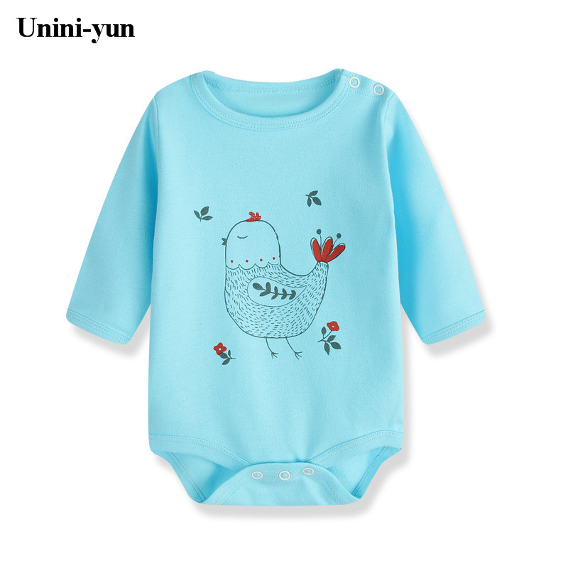 Fashion Newborn Baby Clothes Baby Romper pajama Long Sleeve Print Bird blue Baby Girl boy Clothes Roupas de bebe Infant jumpsuit