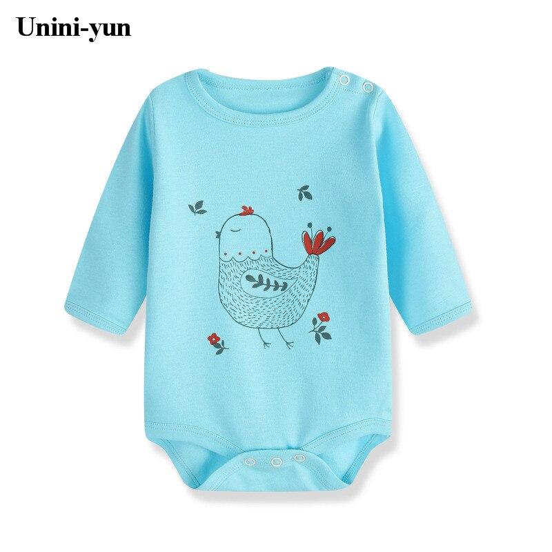 Fashion Newborn Baby Clothes Baby Romper pajama Long Sleeve Print Bird blue Baby Girl boy Clothes Roupas de bebe Infant jumpsuit