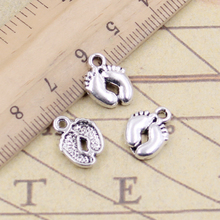 20pcs Charms Feet Foot 13x10mm Tibetan Silver Color Pendants Antique Jewelry Making DIY Handmade Craft 20pcs tibetan silver plated flower connector charms pendants for bracelet necklace jewelry making diy handmade craft 24x18mm