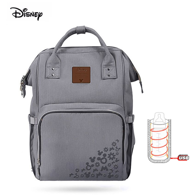 Original Disney Minnie Mickey Large Capacity USB Heating Insulated Maternity Backpack For Babies Nappies Mother Messenger