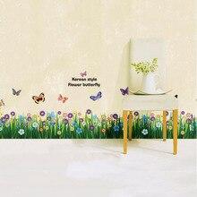 Diy grandes coloridas mariposas hierba pegatinas de pared de vinilo decoración tatuajes de arte dormitorio baño salón decoración mural